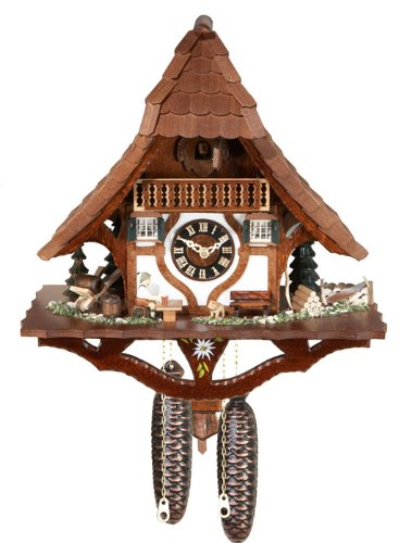 River City Clocks 870-17 Eight Day Chalet Style Cuckoo Clock with Sloping Roof And Country Scenery, 17-Inch Tall