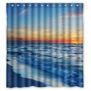 66 X 72 Beach Theme Waterproof Polyester Fabric Bathroom Shower Curtain With 13