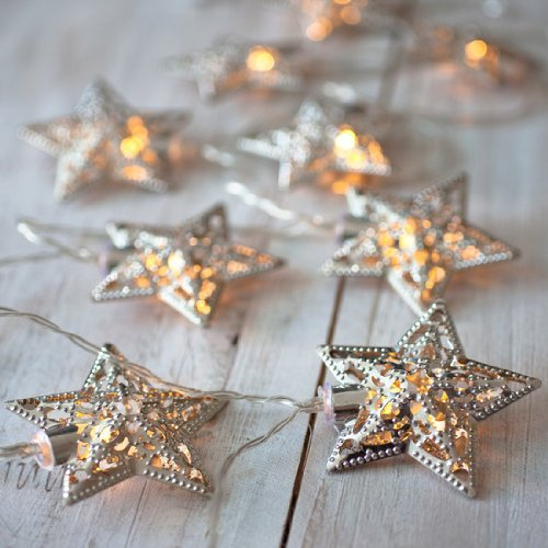 Domire Battery Operated Warm White Led Fairy Lights 10 (Silver) Metal Star String Decoration Light For Festival Halloween Christmas Party Wedding