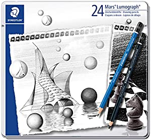 Staedtler Mars Lumograph Drawing Pencils – Gift Tin of 24 Assorted Grades - 100 G24 S