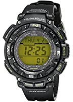 Casio Men's PAG240-1BCR Pathfinder Triple-Sensor Stainless Steel Watch with Resin Band