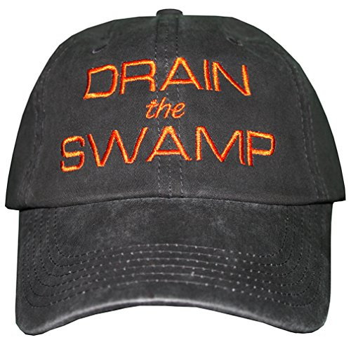 drain-the-swamp-embroidered-hat-draintheswamp-trump-baseball-cap-maga-distressed-black-brightorangee