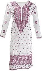 AKS Lucknow Women's Regular Fit Kurti (TK-29_38, WHITE , 38)