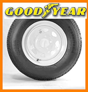 Goodyear Marathon Trailer Tire + Rim ST205/75R14 205/75-14 14 Wheel White Spoke