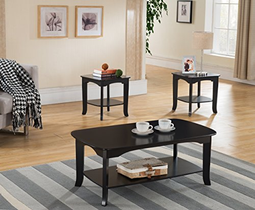 3-Piece Kings Brand Espresso Finish Occasional Coffee Table with 2 End Tables (Espresso Living Room Set compare prices)