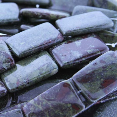 Dragon Blood Jasper : Rectangle-Plain – 30mm Height, 20mm Width, Sold by: 7 Inch Strand
