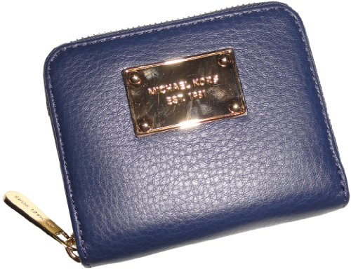 Michael Kors Items Leather Zip Around Bifold Wallet Navy