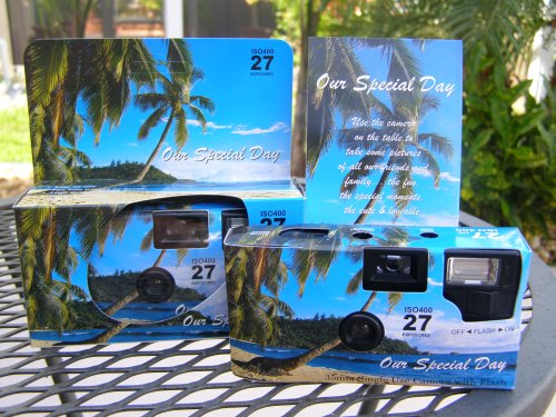 A 10 Pack of Tropical Beach themed 35mm disposable wedding cameras with 35mm color film, 27 exposures, Wedding Favor for Candid Photos