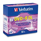 Verbatim 95311 DVD+R DL AZO 8.5 GB 8x-10x Branded Double Layer Recordable Disc, 5-Disc Slim Case