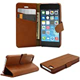 Iphone 5,5S Wallet Case, Belfen® Iphone 5,5S Wallet Case [Brown] [Stand Feature] with Credit Card Slots / Inner Pocket - Genuine Leather Flip Cover Folio Wallet Case