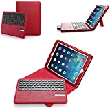 iPad Air Keyboard Case, Poweradd Magnetic Detachable Wireless Bluetooth Keyboard with PU Leather Case Cover for Apple iPad Air iPad 5 - Red