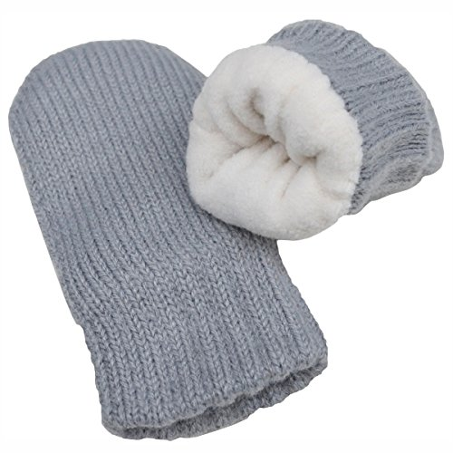 Baby toddler warm fall winter mittens fleece lined unisex (Mitten S: 0-9m, Grey)