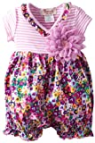 Bonne Baby-girls Newborn Ruffle Kimono Rompers With Flower