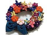 【和風アクセサリー】久留米絣 古布ブローチ 花飾りコサージュ 大 103