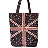 Cotton Fashion Shopper Floral Flag Design Black / Pink