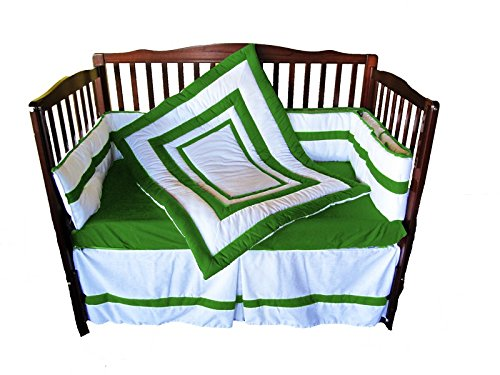 Baby Doll Modern Hotel Style Crib Bedding Set, Green Apple