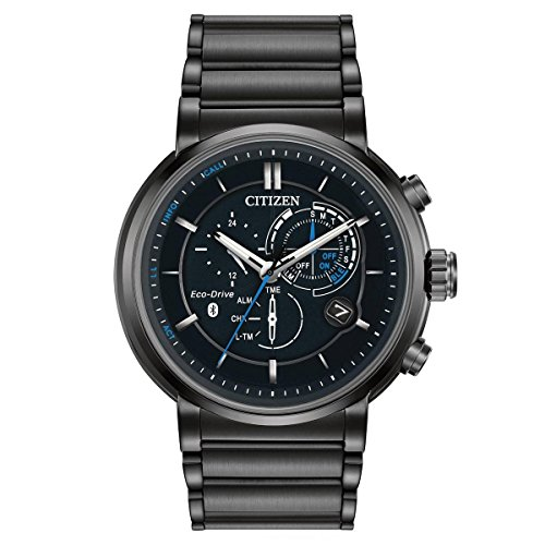Mens-Citizen-Eco-Drive-Proximity-Black-Stainless-Steel-SmartWatch-BZ1005-51E