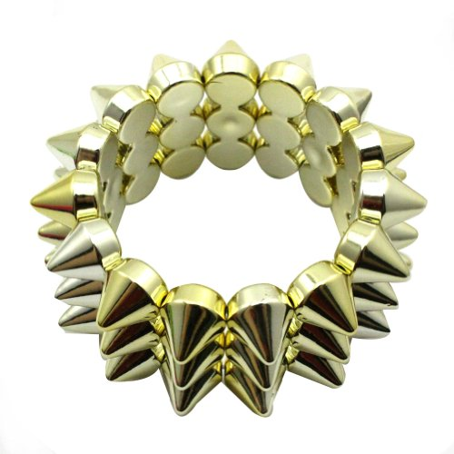 Zehui Gold Cool Rock Punk Studs Hedgehog Spike Rivets Elastic Stretch Bangle Bracelet