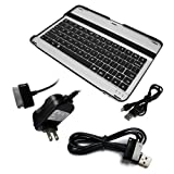 Skque Wall Charger + USB Data Cable + Aluminum Bluetooth Keyboard Case Cover ...
