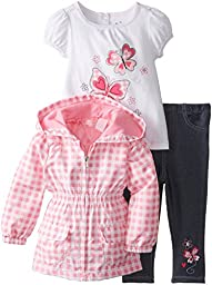 Kids Headquarters Baby Girls\' Checker Jacket with Tee and Jeans, Pink, 18 Months