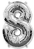 Globo número 8 para fiestas de cumpleaños y aniversarios de boda, medida 100 cm, inflándolo con HELIO flotará durante 5/6 días. (PLATA)
