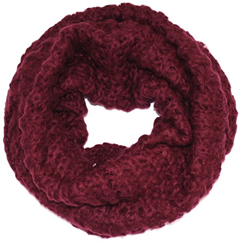Modern Minute - Chunky Knit Heavyweight Snood Infinity Scarf In Burgundy Red