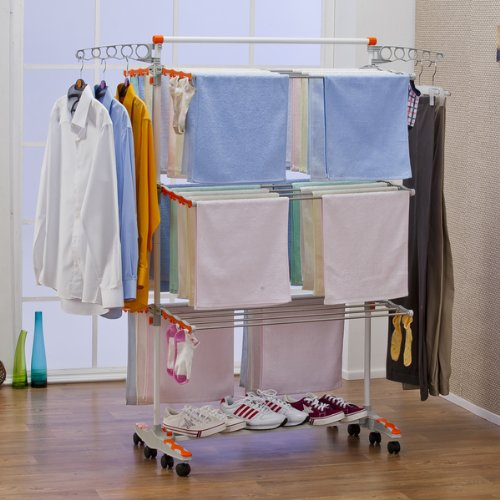Badoogi clothes drying rack system premium collapsible - Tendedero de pared plegable ...