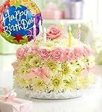 1800Flowers - Birthday Flower Cake Pastel - with Happy Birthday Balloon