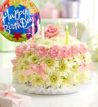 1800Flowers - Birthday Flower Cake Pastel - with Happy Birthday Balloon