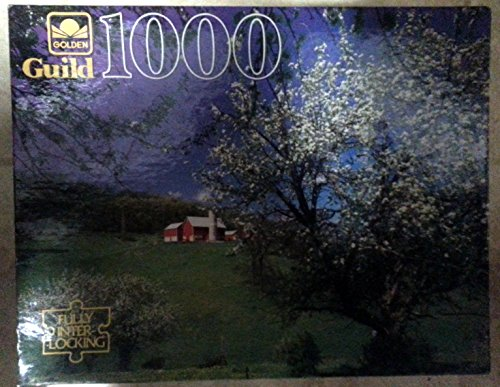 "Golden Guild 1000 Piece Puzzle Hillside Blossoms (Completed 21 1/2"" X 27 1/2) Ages 12 +"