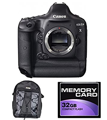 Canon EOS-1D X 18.1MP Full Frame CMOS Digital SLR Camera (Body) w/ Velsey Backpack, 32GB Memory Card