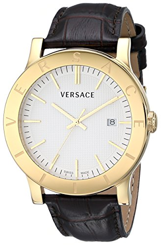 "Versace Men's VQB030000 ""Acron"" Gold-Plated Watch with Brown Leather Band image"