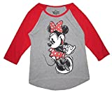 Disney Juniors Minnie Mouse T-Shirt Baseball Jersey Style Grey & Red