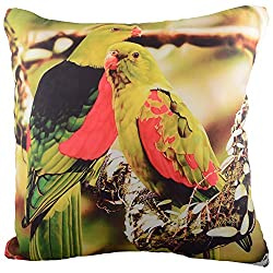 Aaiye Ghar Sajaiye Paper Satin Cushion Cover with Digitalise Peacock- Set of 5, Multi _(16 x 16 Inch)