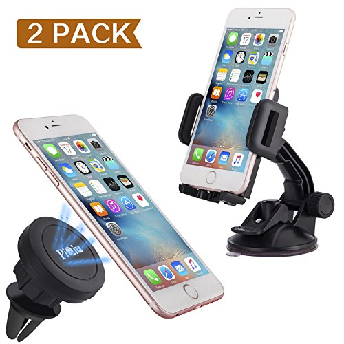 Piqiu Universal Magnetic Car Mount Cradle Holder for Smartphones - 2 Pack - Black
