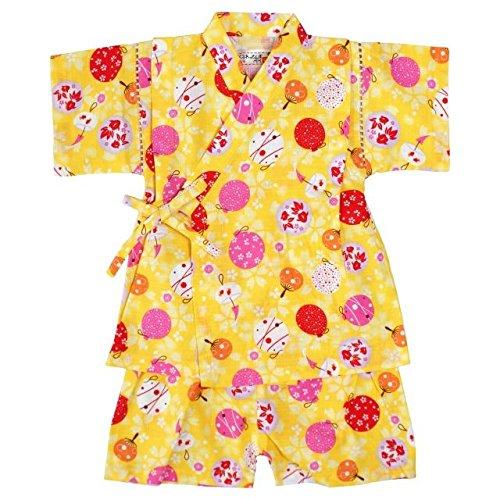 ベビー 甚平 女の子 じんべい 水風船柄 日本製生地 和柄 綿100% スーツ上下 寝まき イエロー 95