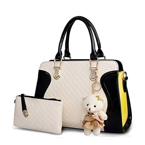 Kingcore Patent Leather Handbag Messenger Bag for Ladies + Small Bag+Bear Key Chain+postcard