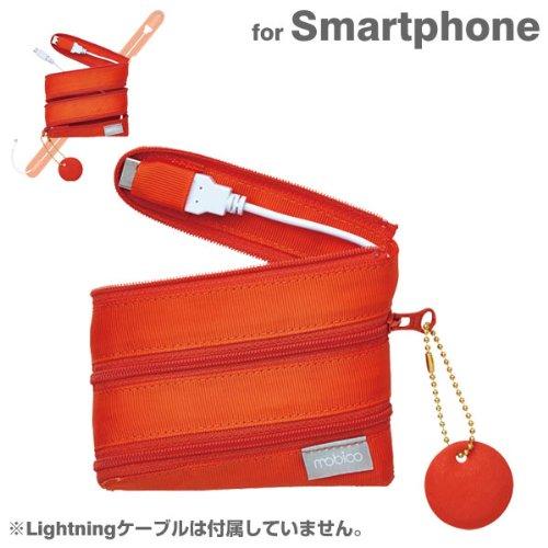 ZIP CABLE microUSB 充電ケーブル ポーチ Mサイズ (マンゴーオレンジ)
