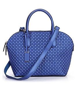 Kattee Women's Flower Embossed Genuine Leather Satchel Handbag