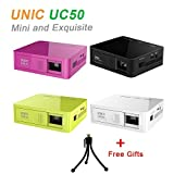 UNIC UC50 Mini Projector Full Hd 1080P Home Theater Beamer 800 Lumens DLP Projector Battery Build-in with USB TF AV HDMI 6650
