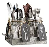 Set of 4 Clear Glass Mason Jars with Hanging Chalkboards on Galvanized Tray with Handles - Flatware Caddy Organizer Set for Home & Parties