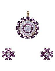 Gehna American Diamond & Pink Tourmaline Studded Pendant & Earring Set