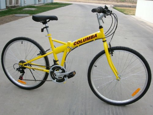 "Great Deal! Columba 26"" Folding Bike w. Shimano 18 Speed Yellow (SP26S_YLW)"