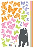 Easy Instant Decoration Wall Sticker Decal - Kittens Can See Color Too (Butterflies)