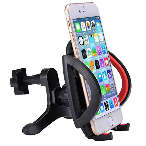 Car Mount, LIANSING Air Vent Car Mount With 360 Degree Rotate Swivel & Tilt features for Apple iPhone 6 PLUS/6/5s/5c, Samsung Galaxy S6/S5/S4, HTC one M8 and Other Android Phones (vent black/red)