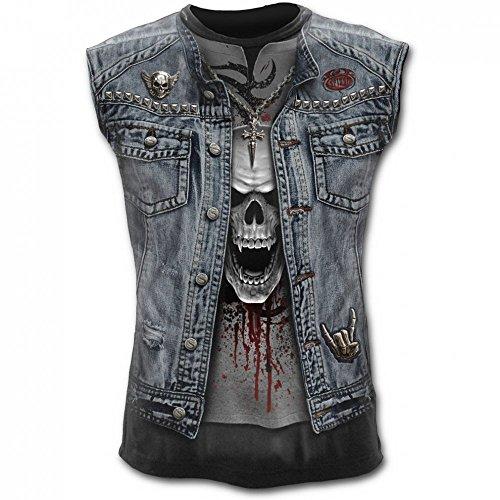 Spiral canottiera da uomo - Maglietta con teschio bastonare Metal sleeve less Muscle T-Shirt da uomo multicolore X-Large
