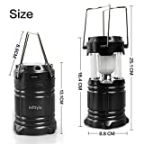 Camping Lantern - LED Solar Rechargeable Camp Light Flashlights - Emergency Lamp - Power Bank for Android Cell Phone IOS Iphone - Black
