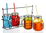 Zeesline Colored Glass Mason Jars Mugs with Handles, Lids & Drinking Straws, Including Caddy Holder with a Handle, Home & Party Drinkware Set, Blue Red Green Yellow Drinking Jars, 16oz, Set of 4