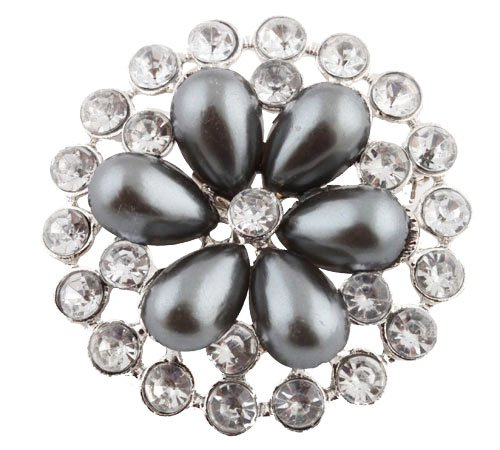 Ladies Silver with Metallic Gun Metal & Clear AB Iced Out Sun Wheel Pearl Flower Style Collar Brooch & Pin