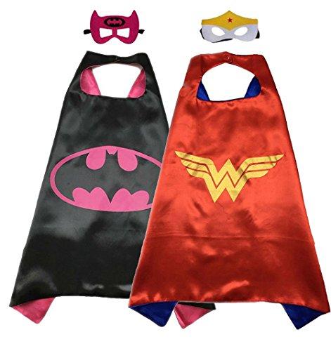 [Superhero Costume Super Hero Cape And Mask Dress Up 2 Set For Kids (Batgirl-Wonder Woman)] (Batgirl Costumes Set)